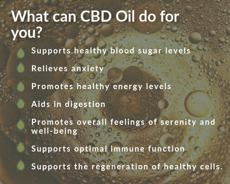 What can CBD Oil do for you? Supports healthy blood sugar levels  Relieves anxiety  Promotes healthy energy levels  Aids in digestion  Promotes overall feelings of serenity and well-being  Supports optimal immune function  Supports the regeneration of healthy cells.